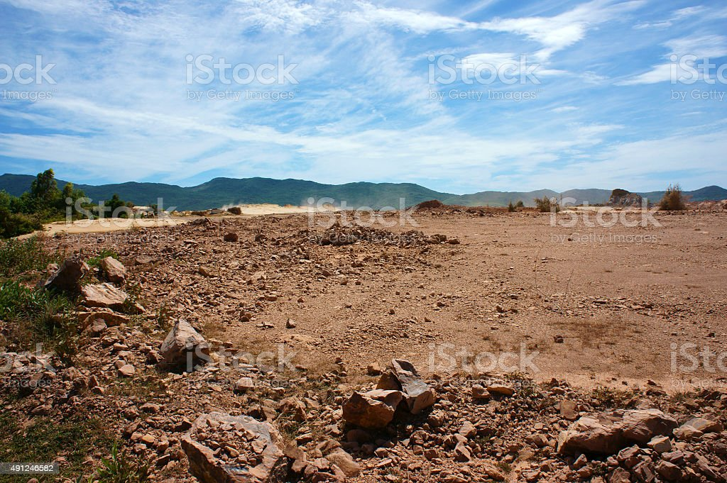 Reclamation project, fill up, construction plan, Vietnam stock photo