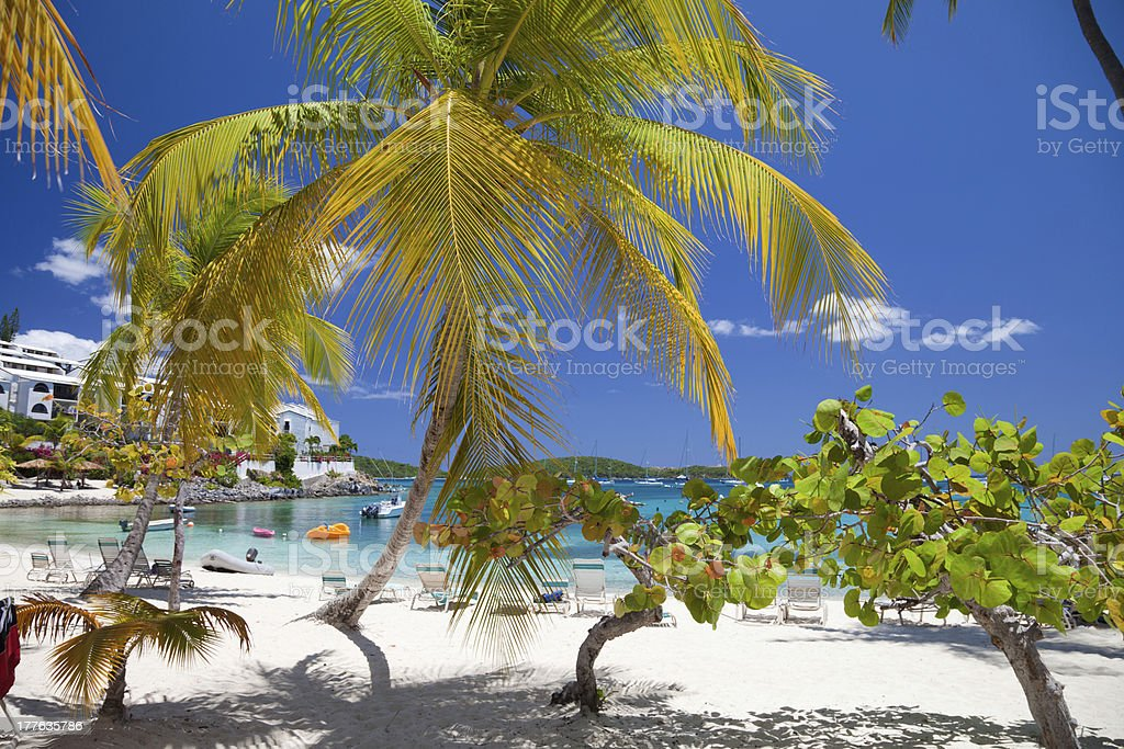 recliners chairs at a tropical beach resort in St.Thomas, USVI royalty-free stock photo