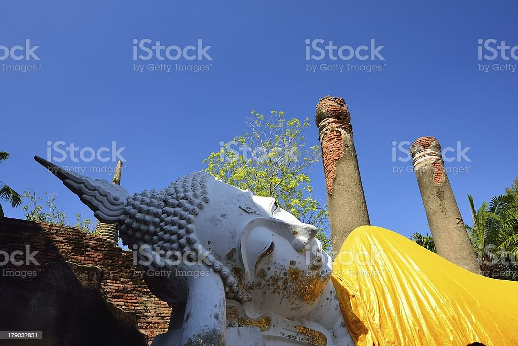 Reclining Buddha at an Ancient wat royalty-free stock photo