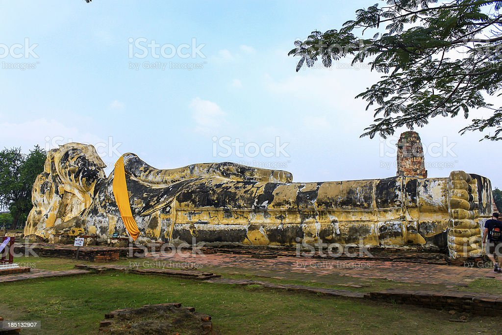 Reclining buddha at Wat Lokayasutharam in Ayutthaya,Thailand royalty-free stock photo
