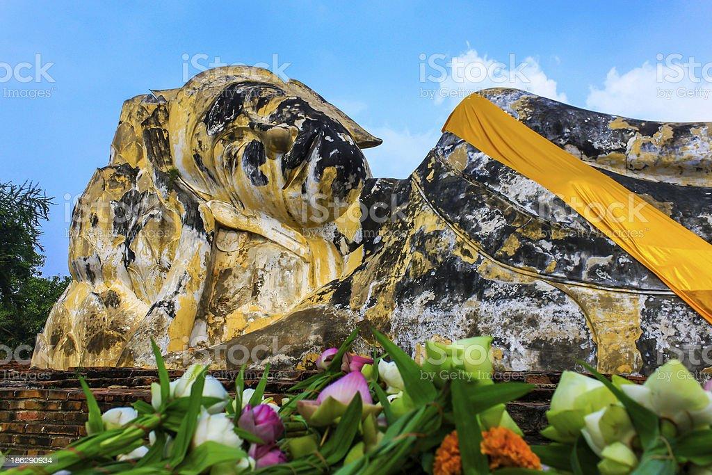 Reclining buddha at Wat Lokayasutharam in Ayutthaya,Thailand royalty-free stock photo