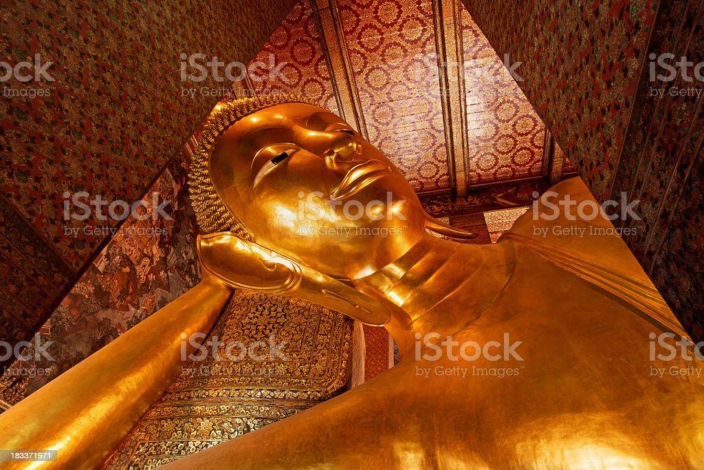 Reclining Buddha at Wat Pho, Bangkok, Thailand. royalty-free stock photo