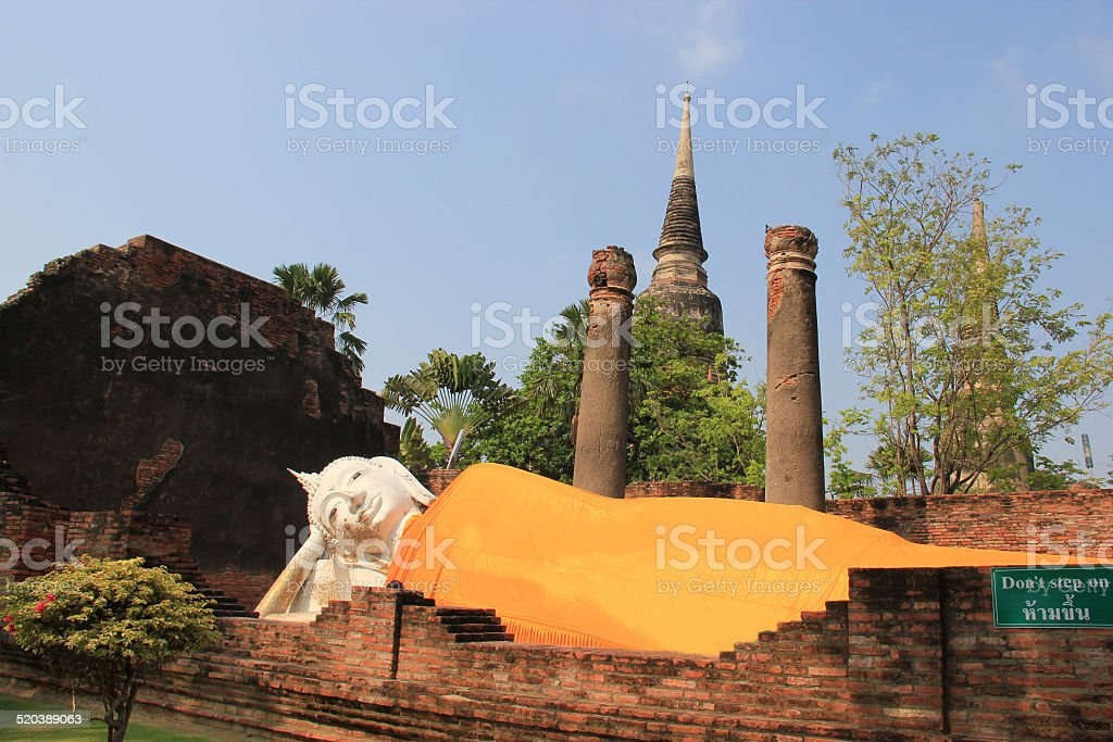 Reclining Buddha at Watyaichaimongkol Temple in Thailand stock photo