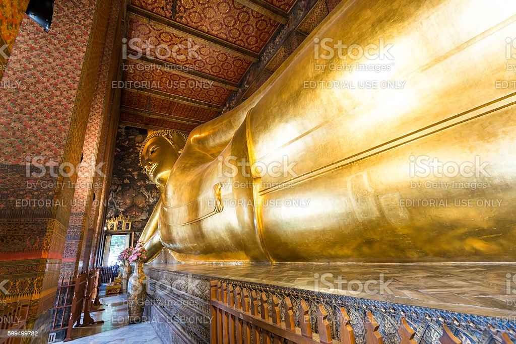 Reclining Buddha from Temple of Reclining Buddha, Bangkok, Thailand stock photo