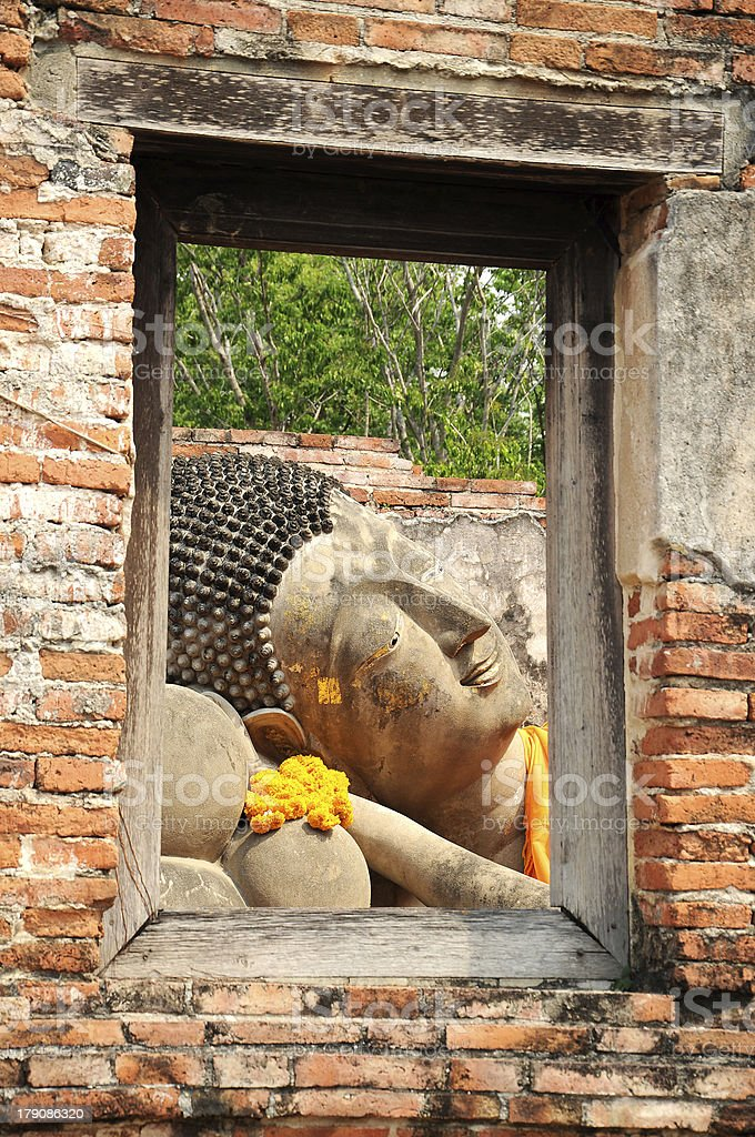 Reclining Buddha Image Frame stock photo