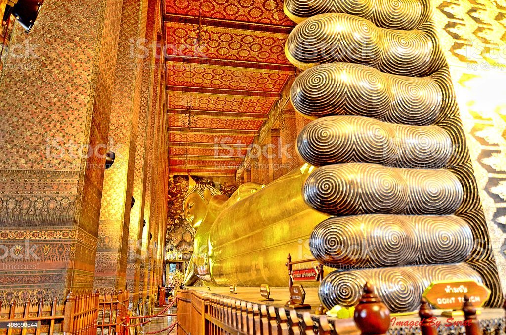 Reclining Buddha. stock photo