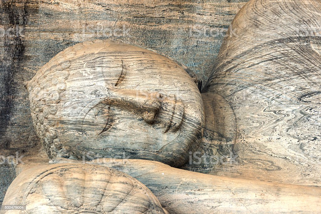 Reclining Buddha sculpture at Gal Vihara stock photo