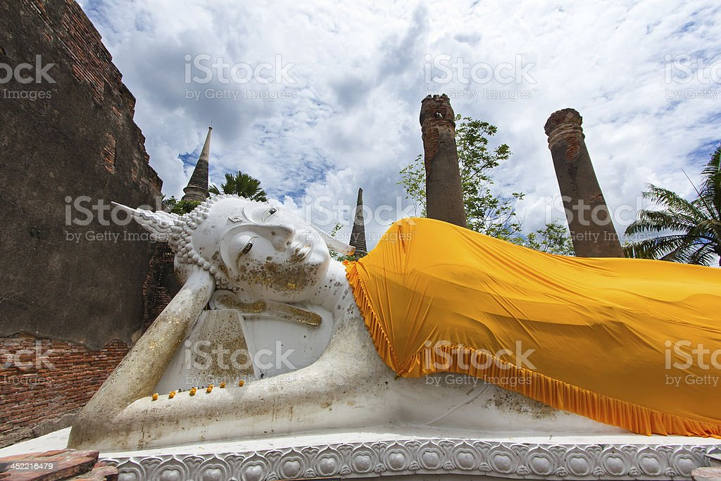 Reclining Buddha statue in temple at Ayutthaya province, Thailan royalty-free stock photo