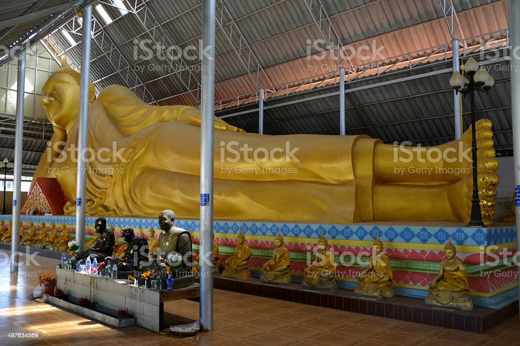 Reclining Buddha, Wat Ni Korn Rang Sa Rid Temple, Thailand stock photo