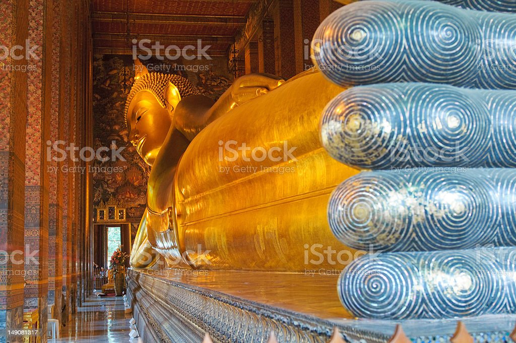 reclining buddha, wat pho, bangkok, thailand stock photo