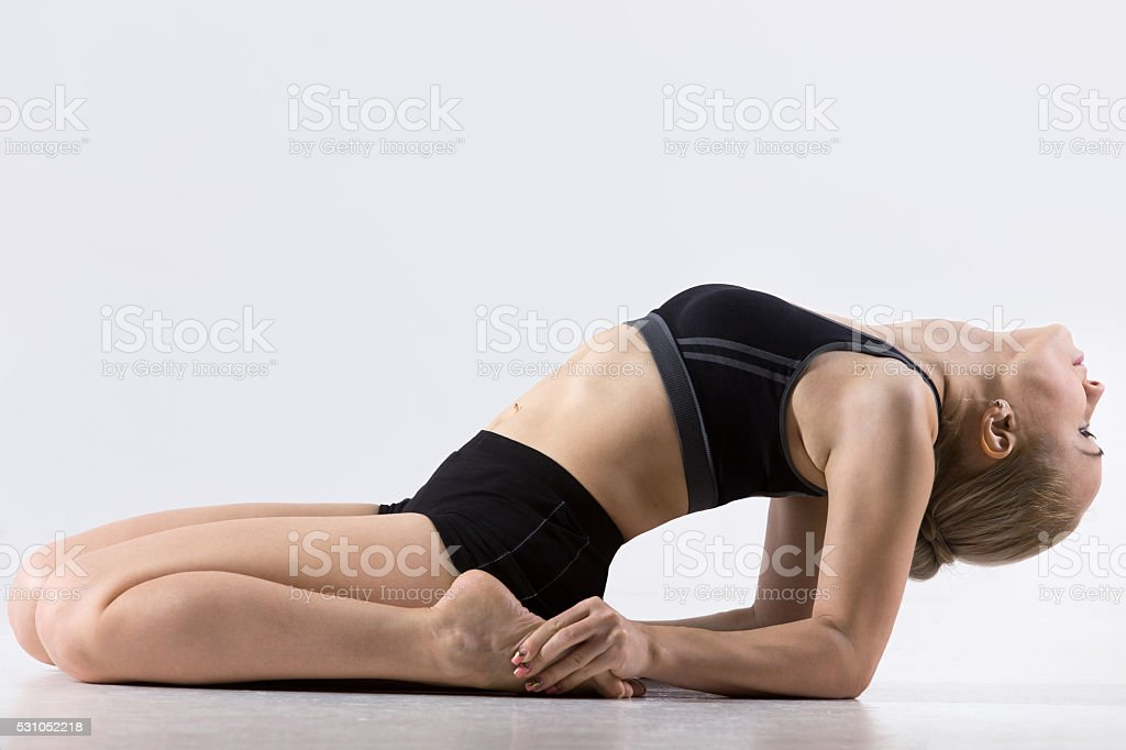 Reclining Hero Pose stock photo