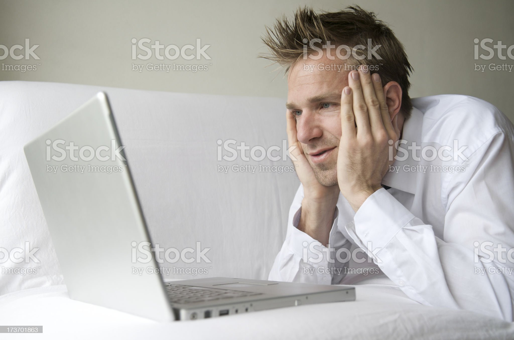 Reclining with the Internet royalty-free stock photo