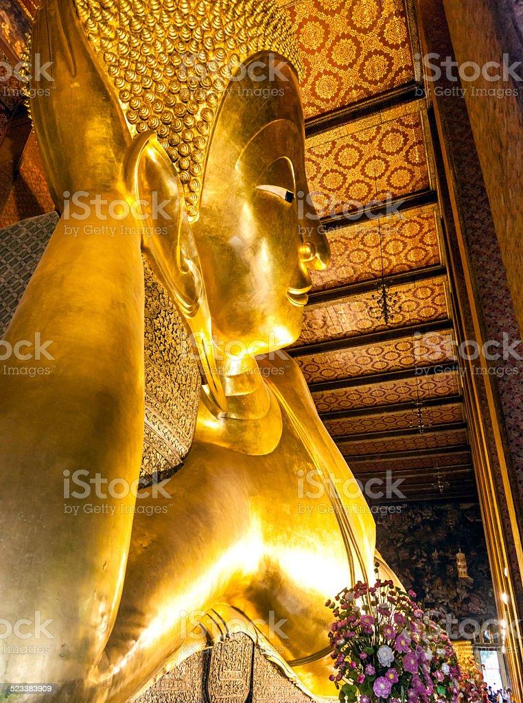 Reclinning Buddha in Bangkok stock photo