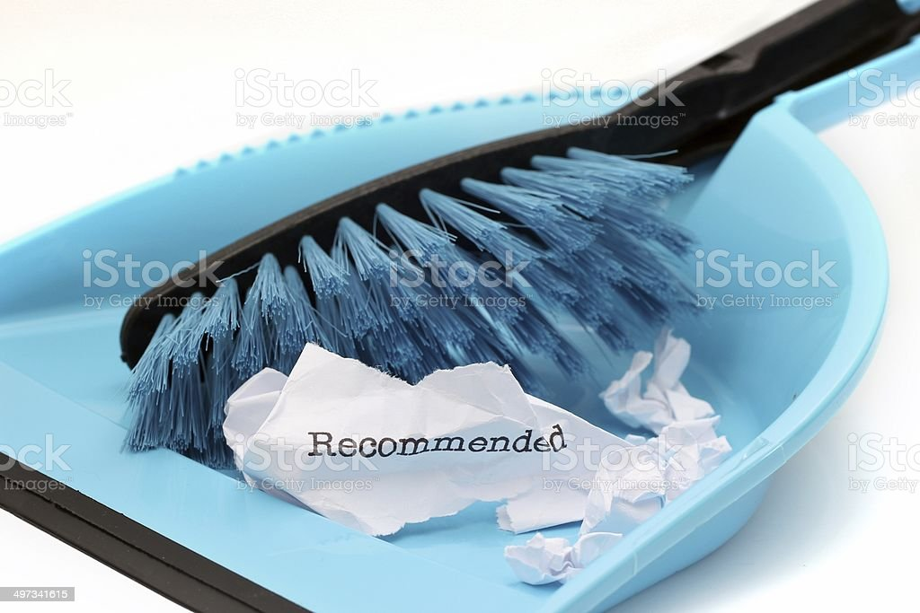 Recommended trash concept stock photo