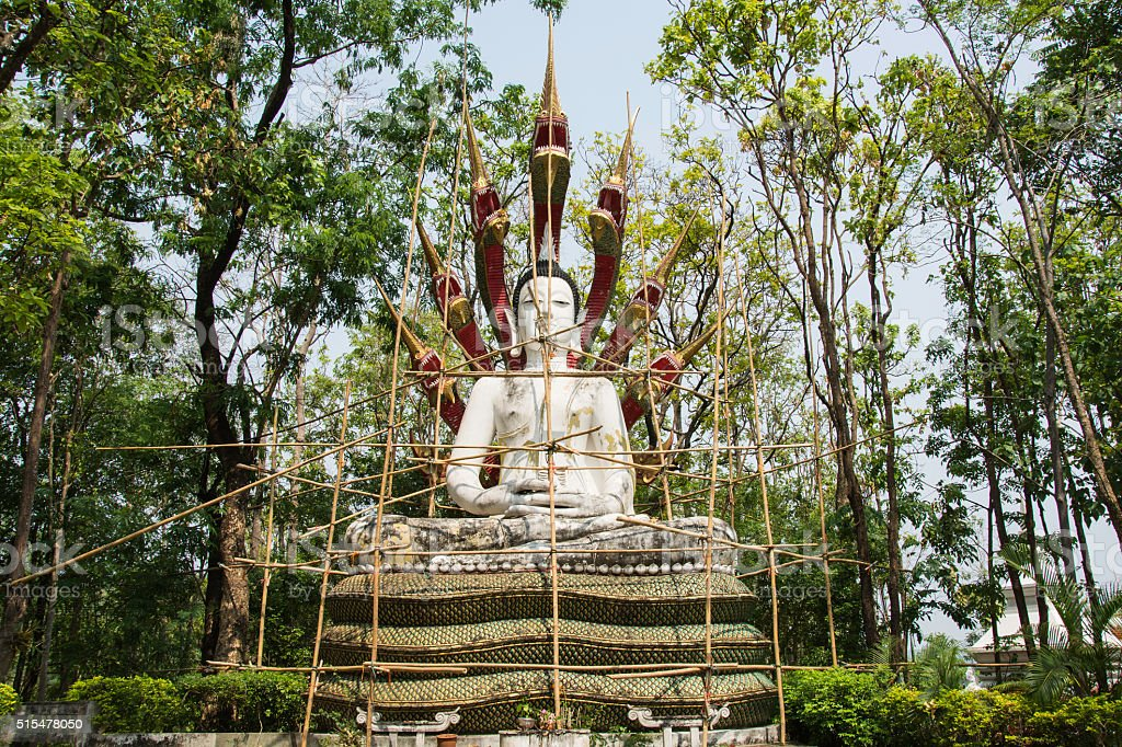 Reconstruct buddha statue, Wooden scaffolding for construction B royalty-free stock photo