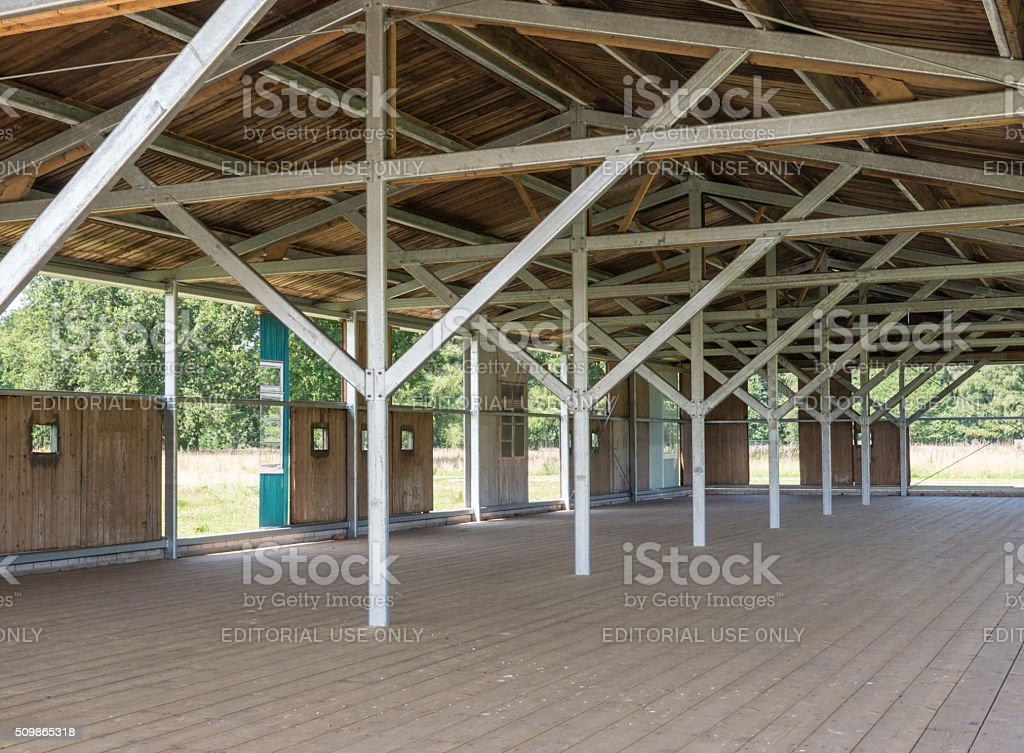 Reconstructed barracks at former Nazi transit camp Westerbork stock photo