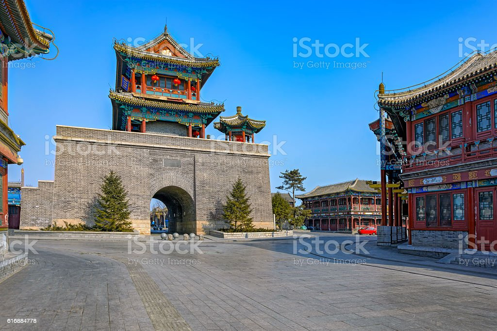 Reconstructed 'old' town of Shanhaiguan. Hebei Province, China stock photo
