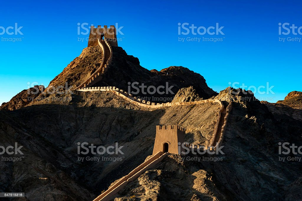reconstructed wall at the Overhanging (Xuanbi), Jiayuguan stock photo