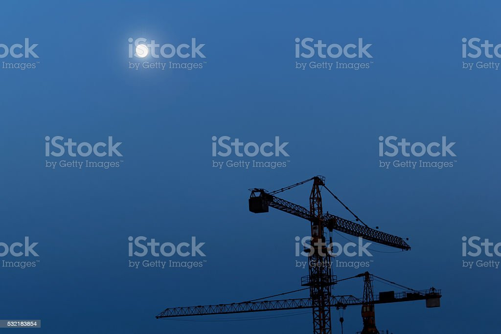 Reconstruction area at night stock photo