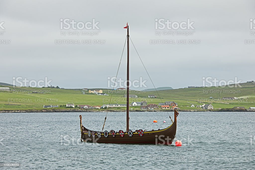 Reconstruction of a Viking ship royalty-free stock photo