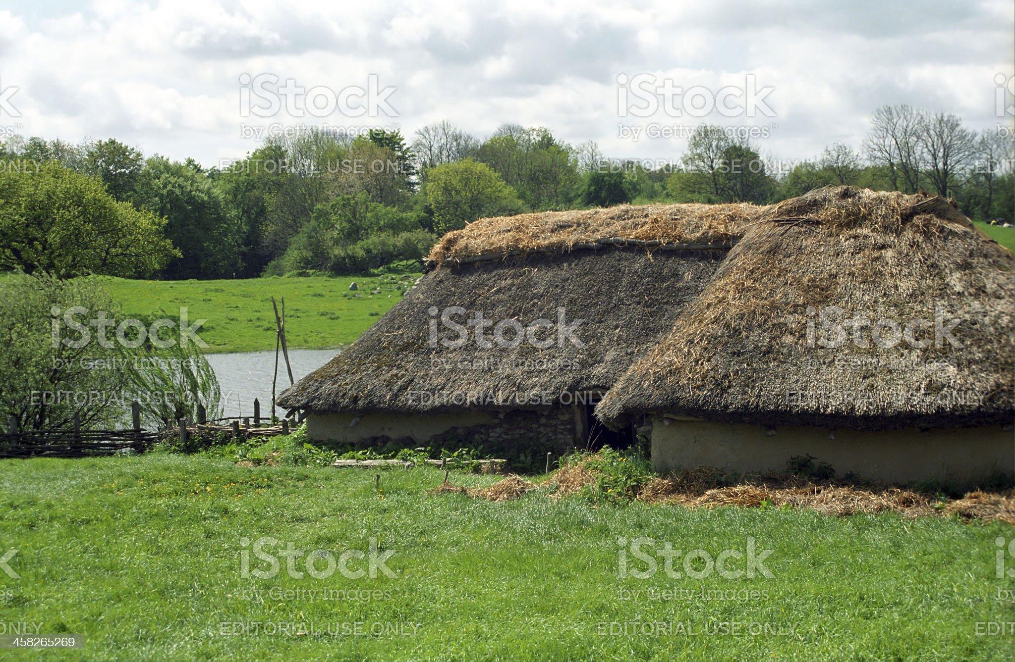 Reconstruction of a Viking village, Lejre, Denmark royalty-free stock photo