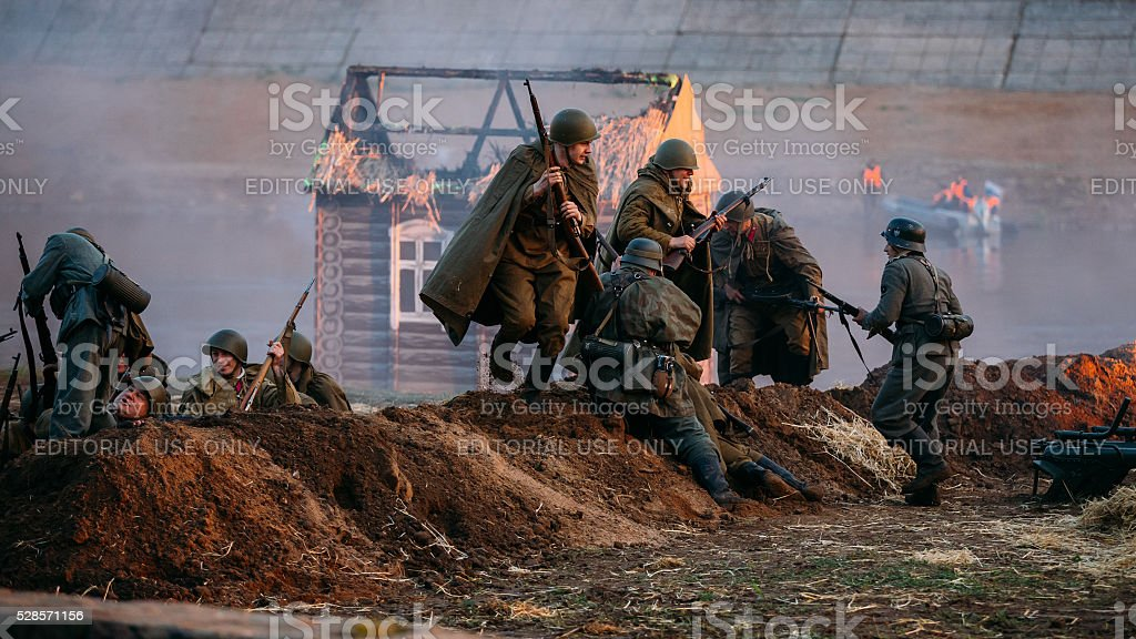 Reconstruction of Battle during events dedicated to 70th anniver stock photo