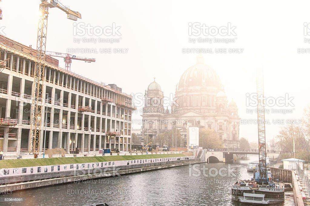 reconstruction of Berlin Stadtschloss at Spree River stock photo