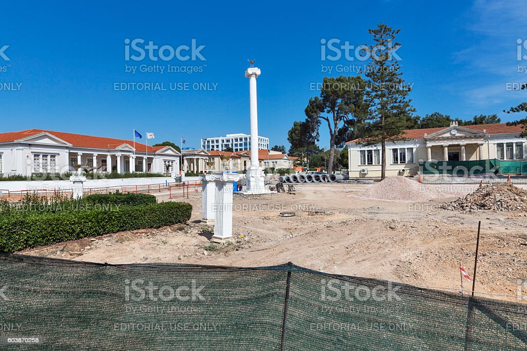 Reconstruction of city centre in Paphos, Cyprus stock photo