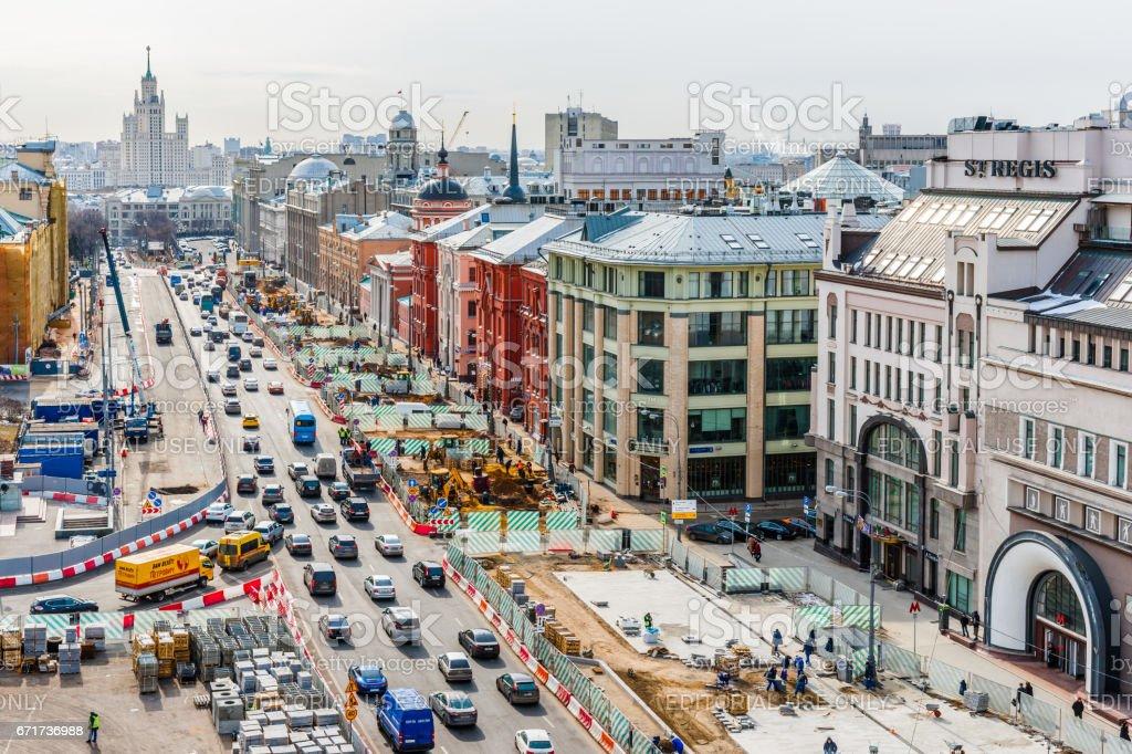 Reconstruction of Lubyanka square stock photo