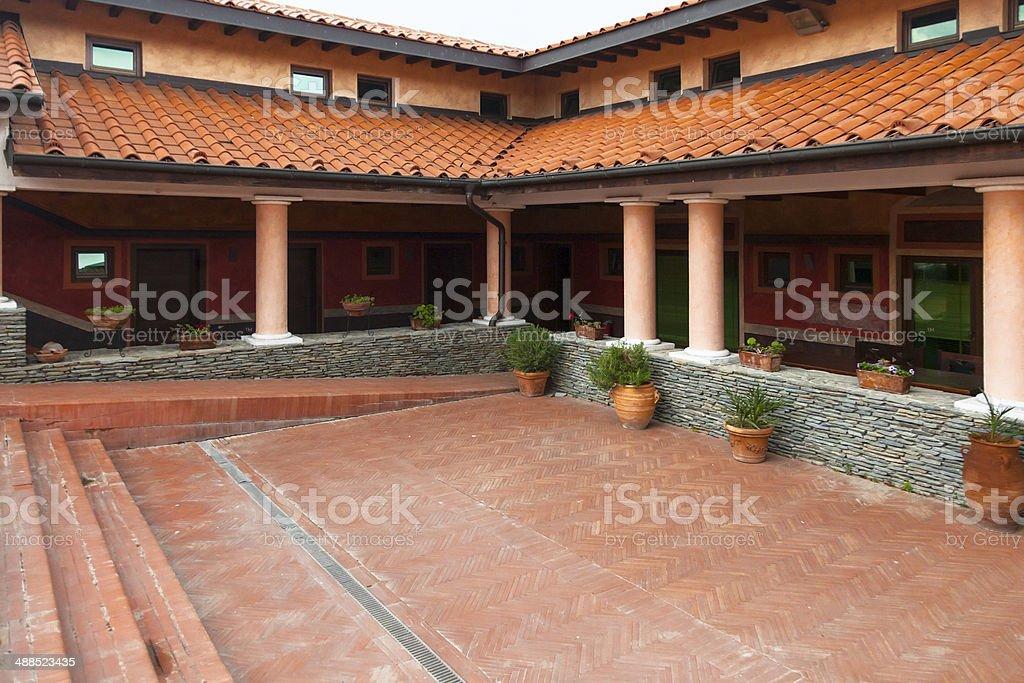 reconstruction of roman villa stock photo