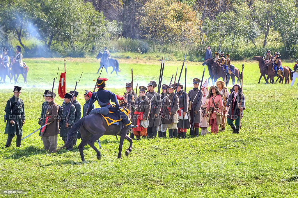 Reconstruction of the Borodino battle stock photo