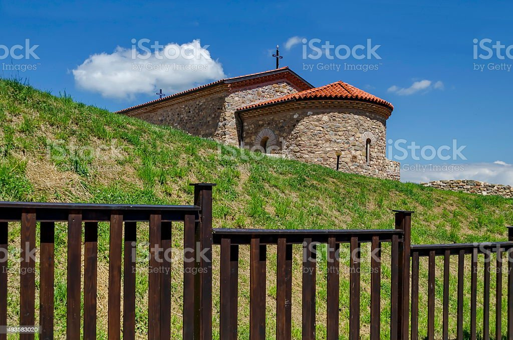 Reconstruction of the church from XV century 'Ascension' stock photo