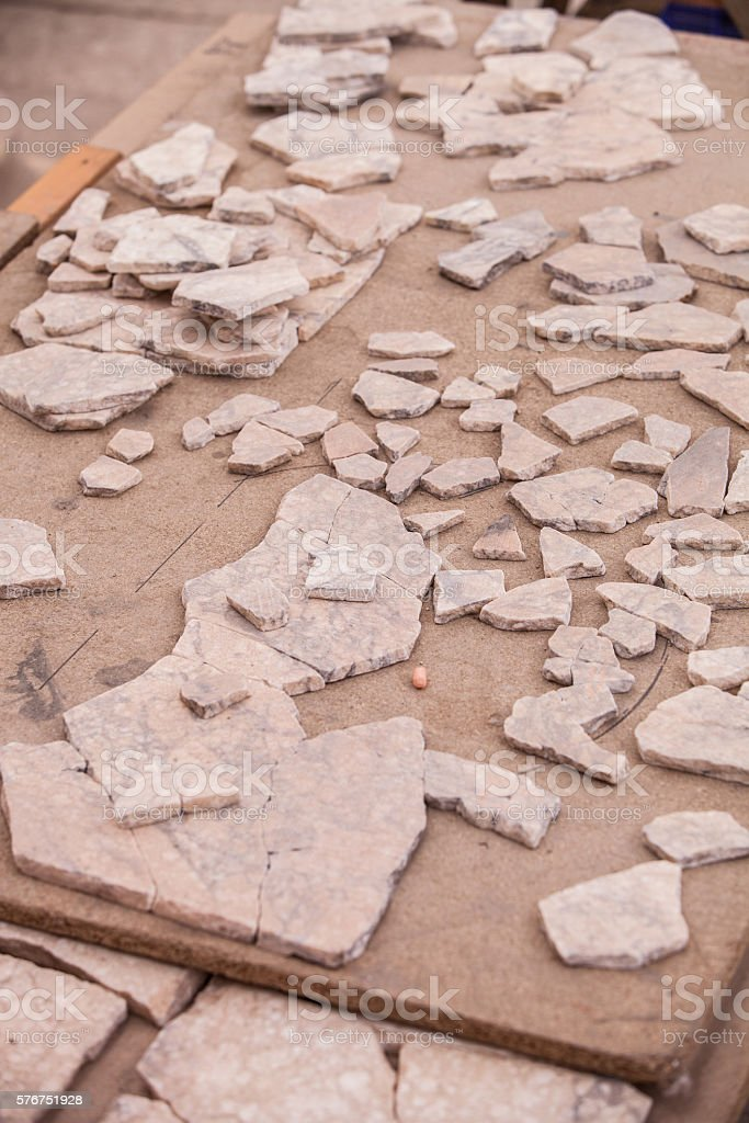 Reconstruction of Tiles at Archeological Site in Turkey stock photo