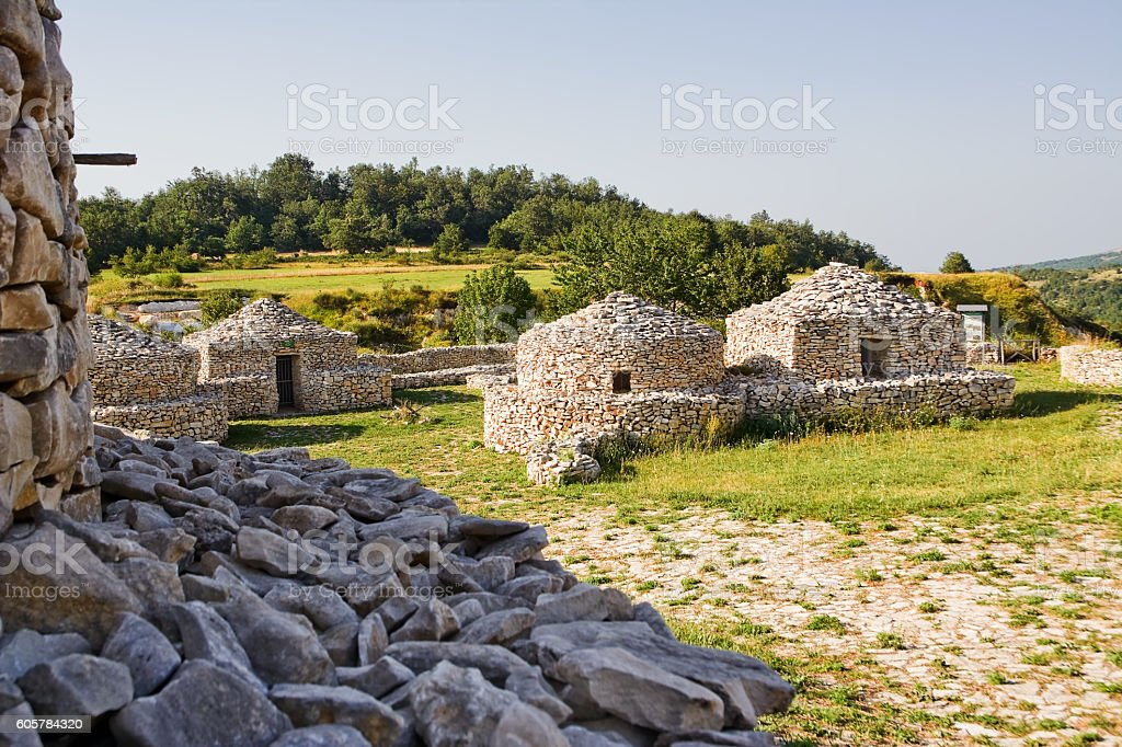reconstruction village Paleolithic in Abruzzo (Italy) stock photo