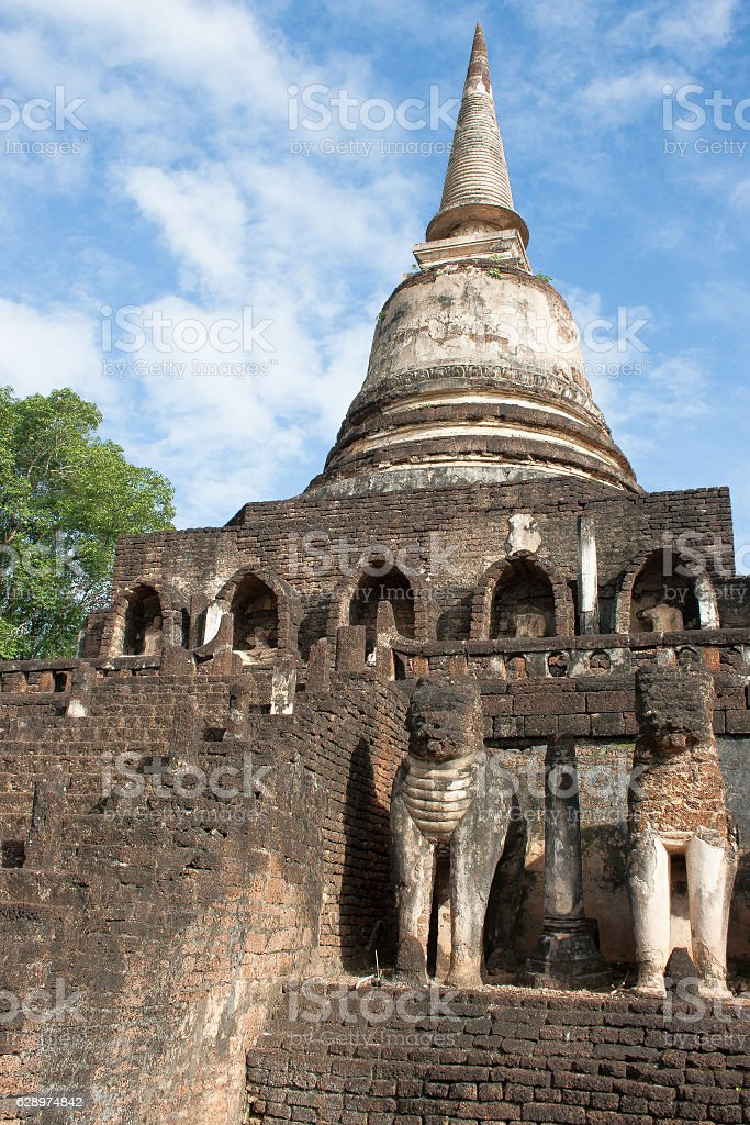 Reconstucted Elephants at Wat Sorasak stock photo