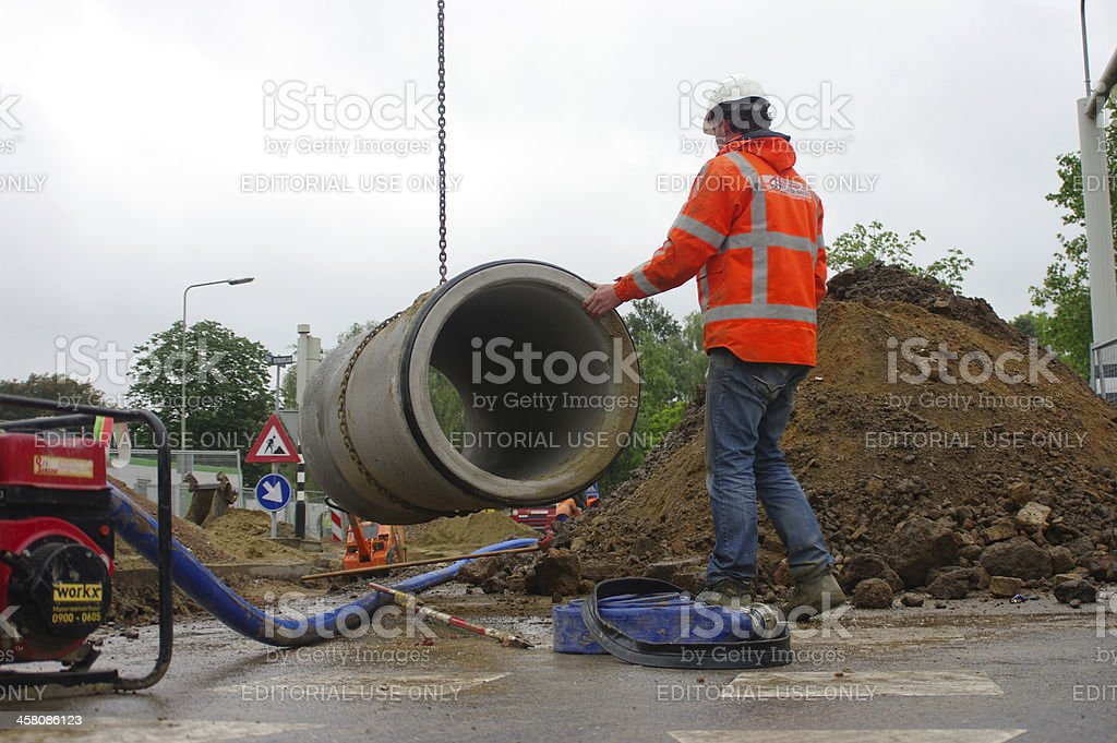 Recontruction of the sewage system royalty-free stock photo