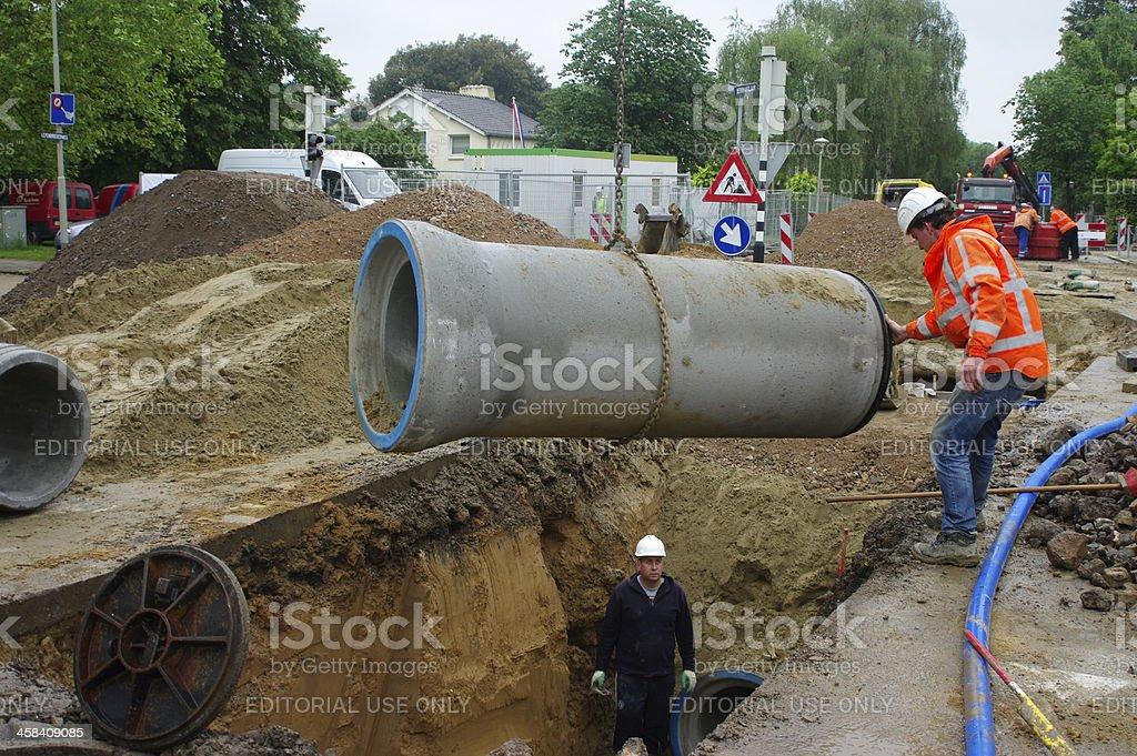 Recontruction of the sewage system stock photo