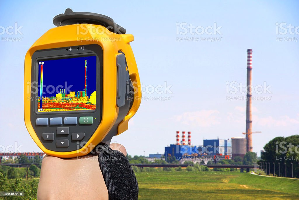 Record at the Chimney of energy station with thermal cameras stock photo