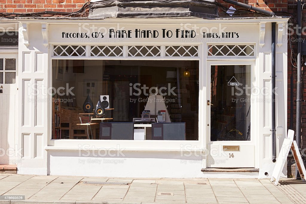 Record, CD and hi-fi shop front exteriorbusiness; stock photo