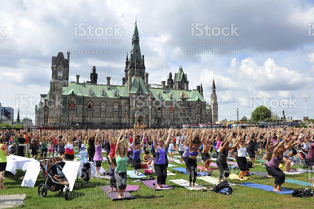 Record crowd for yoga in Ottawa stock photo