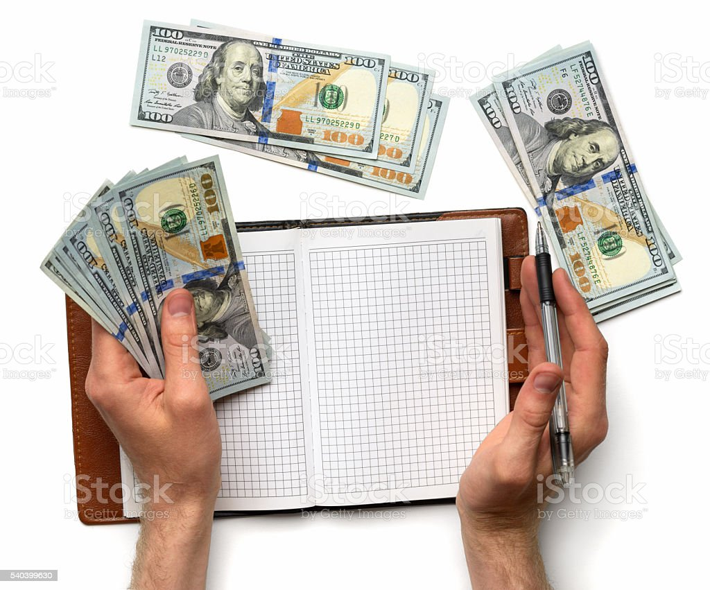 record expenses in  notebook stock photo