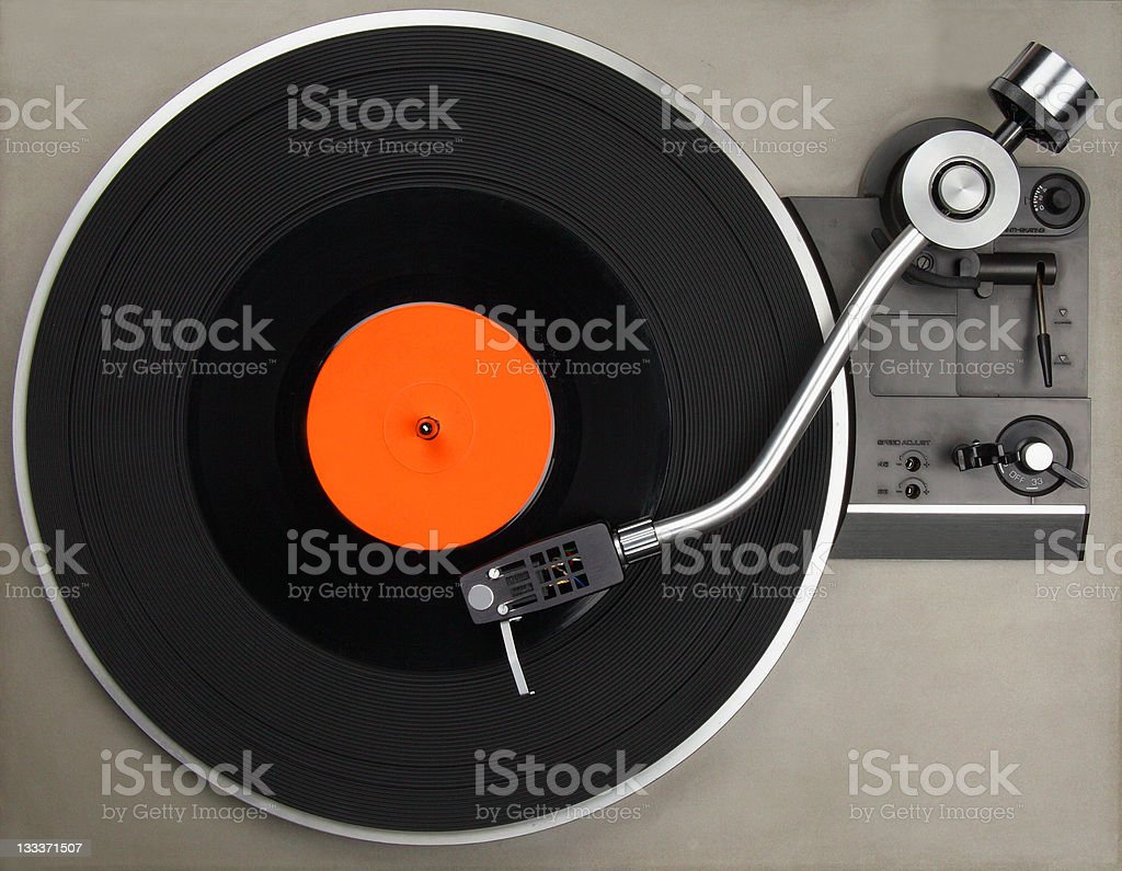 Record player with vinyl royalty-free stock photo