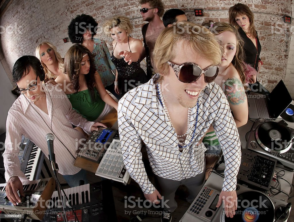 Record spinning men royalty-free stock photo