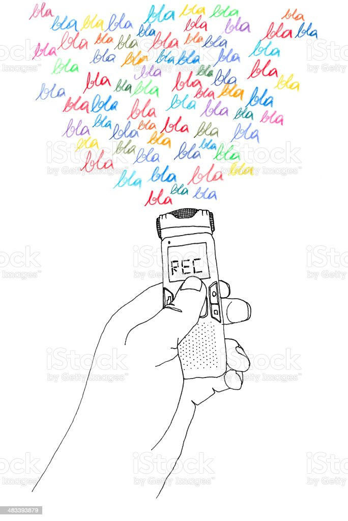 record what they say hand illustration stock photo