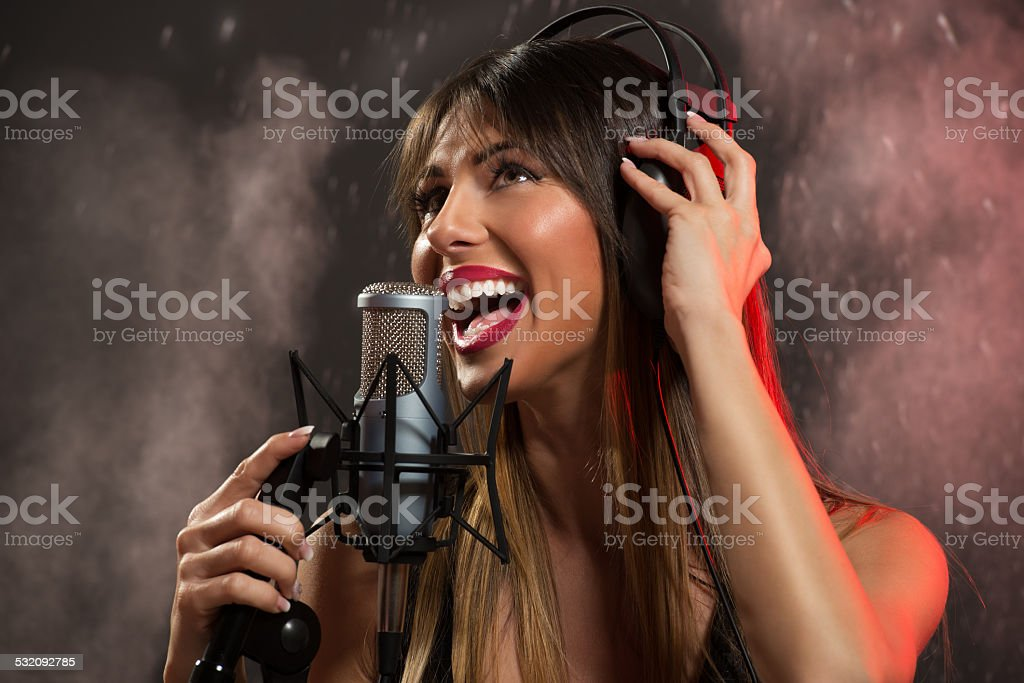 Recording A New Hit Song stock photo