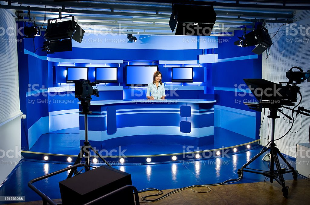 recording at TV studio stock photo