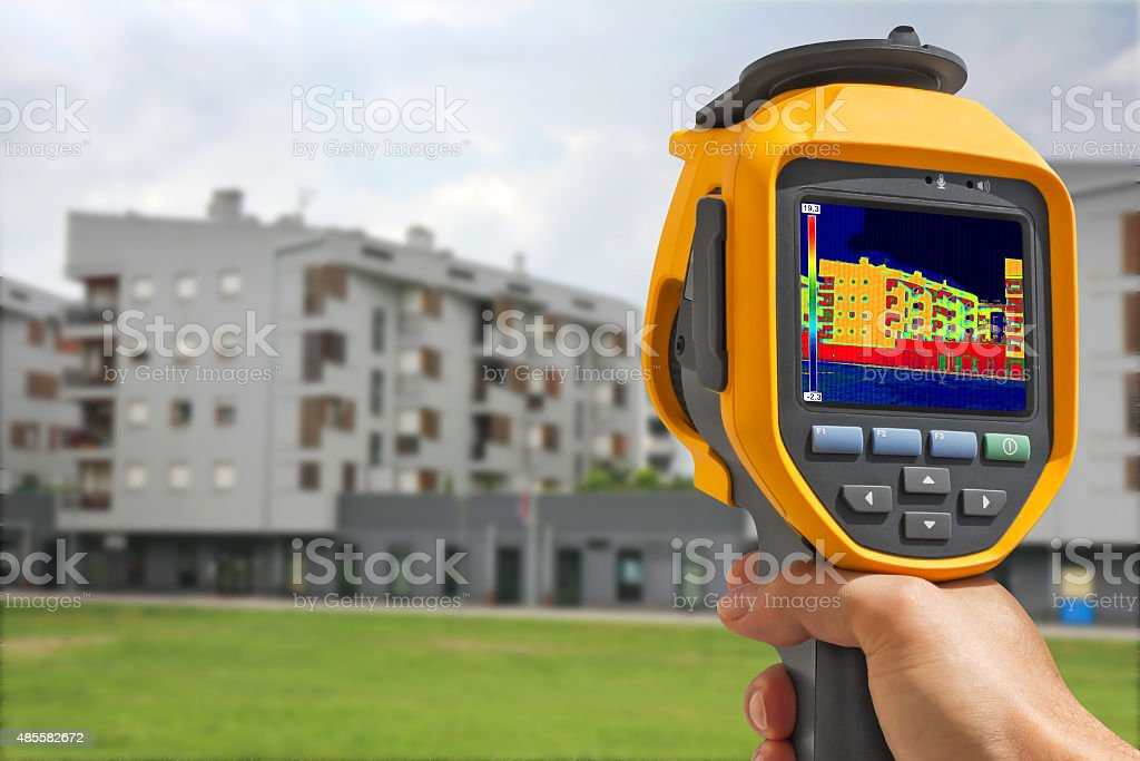 Recording Building With Thermal Camera stock photo