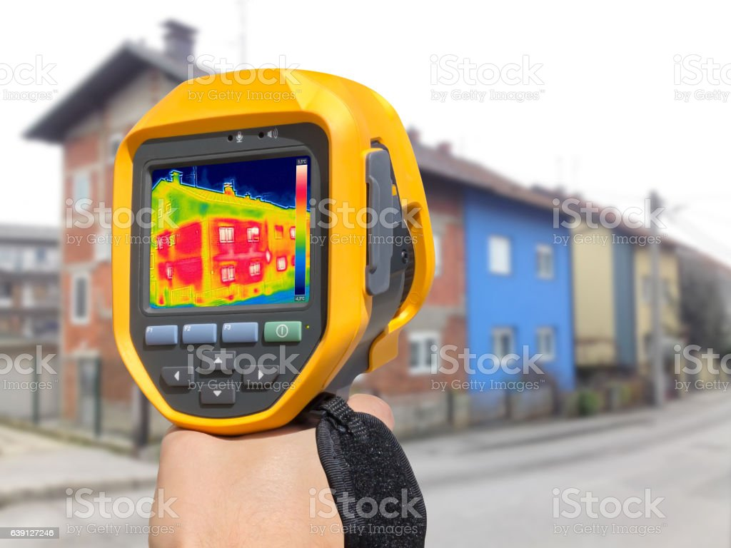 Recording Heat Loss at the House with or without facade stock photo