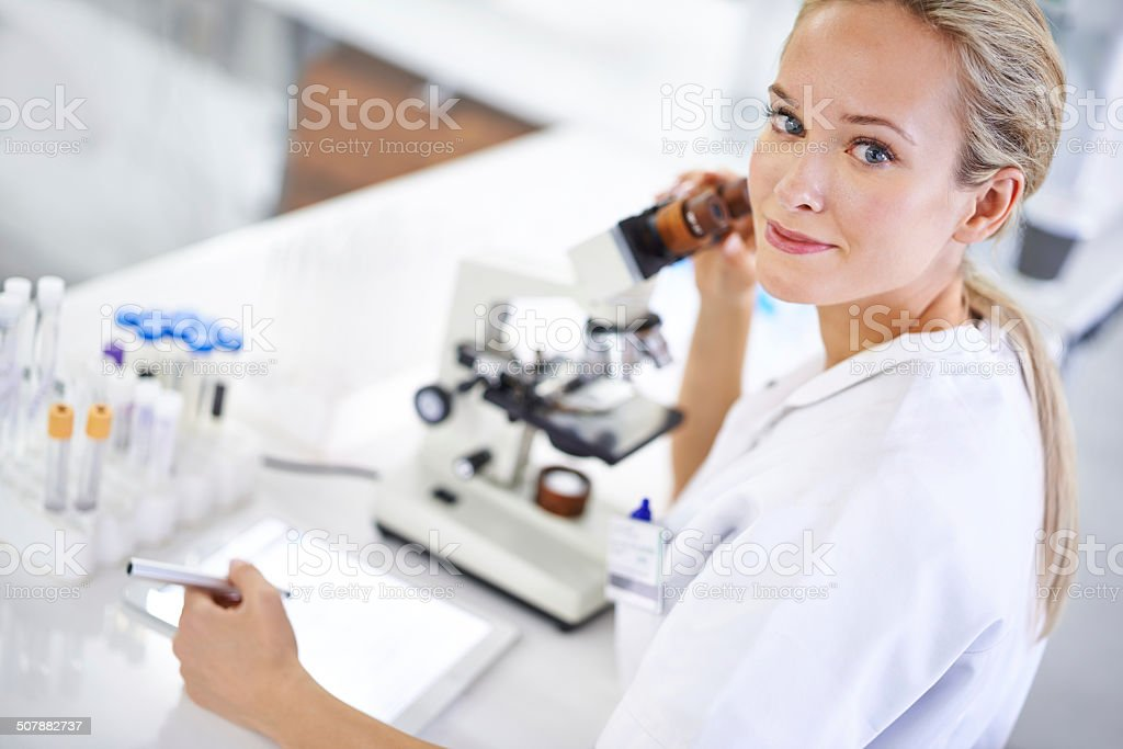 Recording her findings stock photo