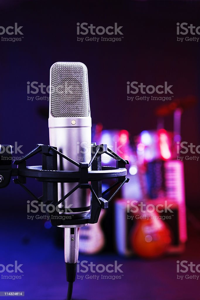 Recording microphone with band instruments stock photo